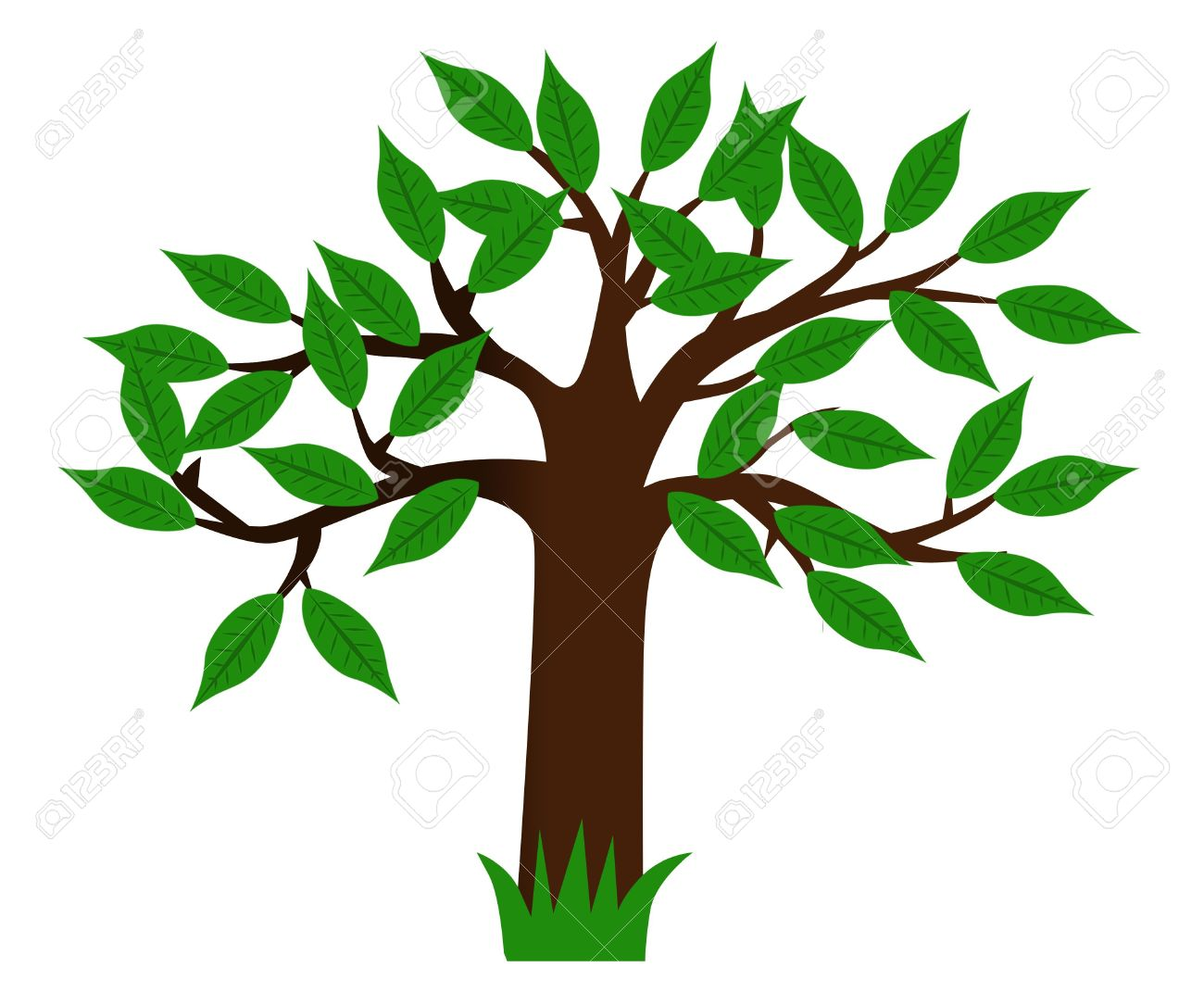 1300x1085 Drawing Green Tree With Leaves Stock Photo, Picture And Royalty