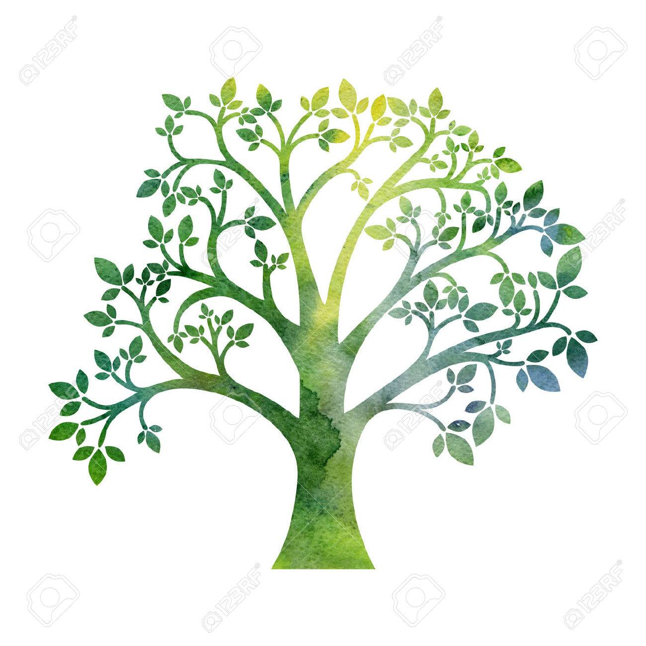 1300x1300 Green Silhouette Of Tree With Leaves Drawing In Watercolor, Hand