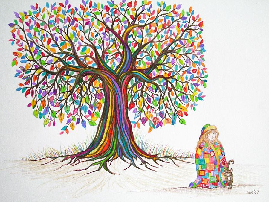 900x675 Drawings Of Trees Rainbow Tree Dreams Drawing By Nick Gustafson
