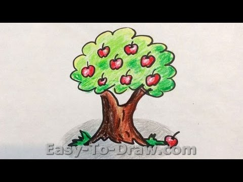 480x360 How To Draw A Cartoon Apple Tree