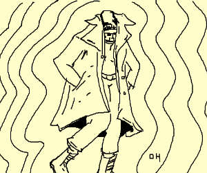 300x250 Man Wearing Awesome Trench Coat. ) (Drawing By Cquin)