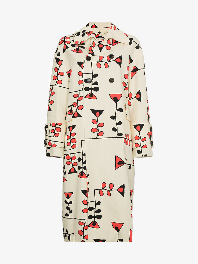 800x1067 Marni Drawing Print Cocoon Coat Double Breasted Amp Peacoats Browns
