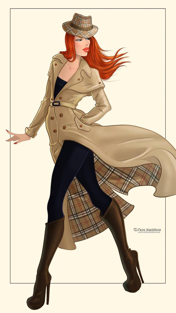 578x1024 Trench Coat Fashion Illustration