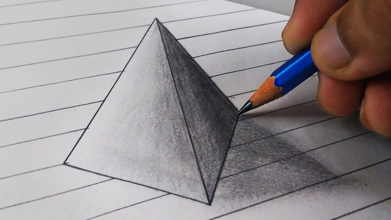 1280x720 How To Draw 3d Triangle Illusion Drawing On The Paper Step By Step