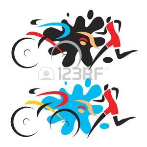 300x300 Triathlon Race. Abstract Stylized Drawing Of Three Triathlon