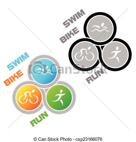 450x470 Triathlon Symbol. Color And Colorless Symbol For Triathlon Vectors