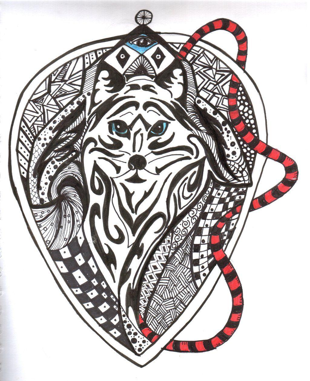 1024x1259 Zentangled Animals Tribal Zentangle Fox By Lindeahl Art Attack