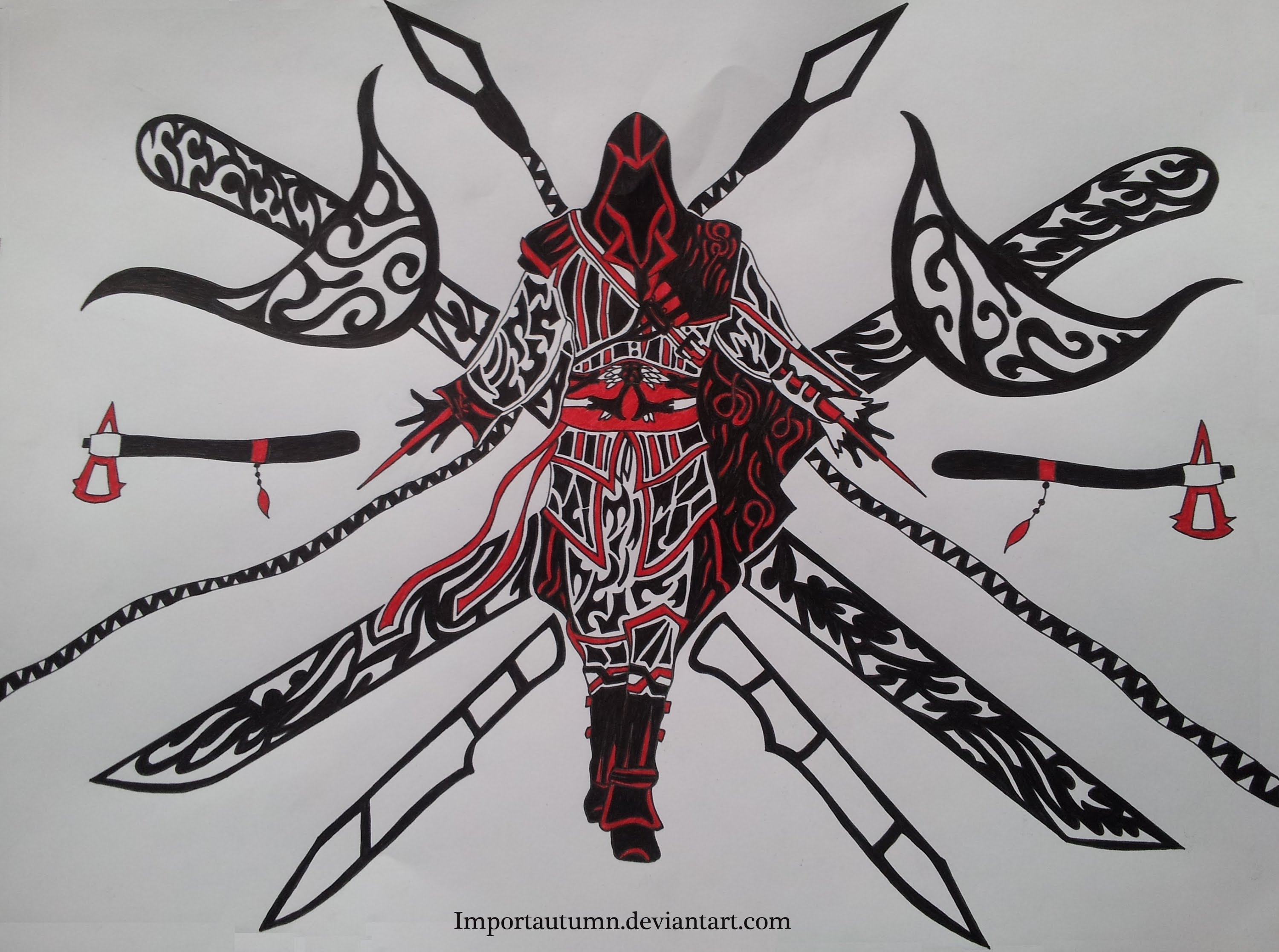 3000x2233 Drawing Ezio From Assassin's Creed [Tribal Art Speed Drawing