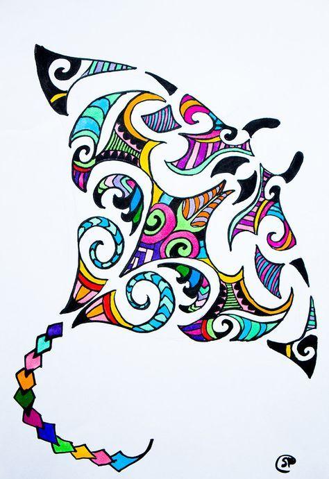474x690 Maori Design Stingray Colorful Stingray Drawing Available