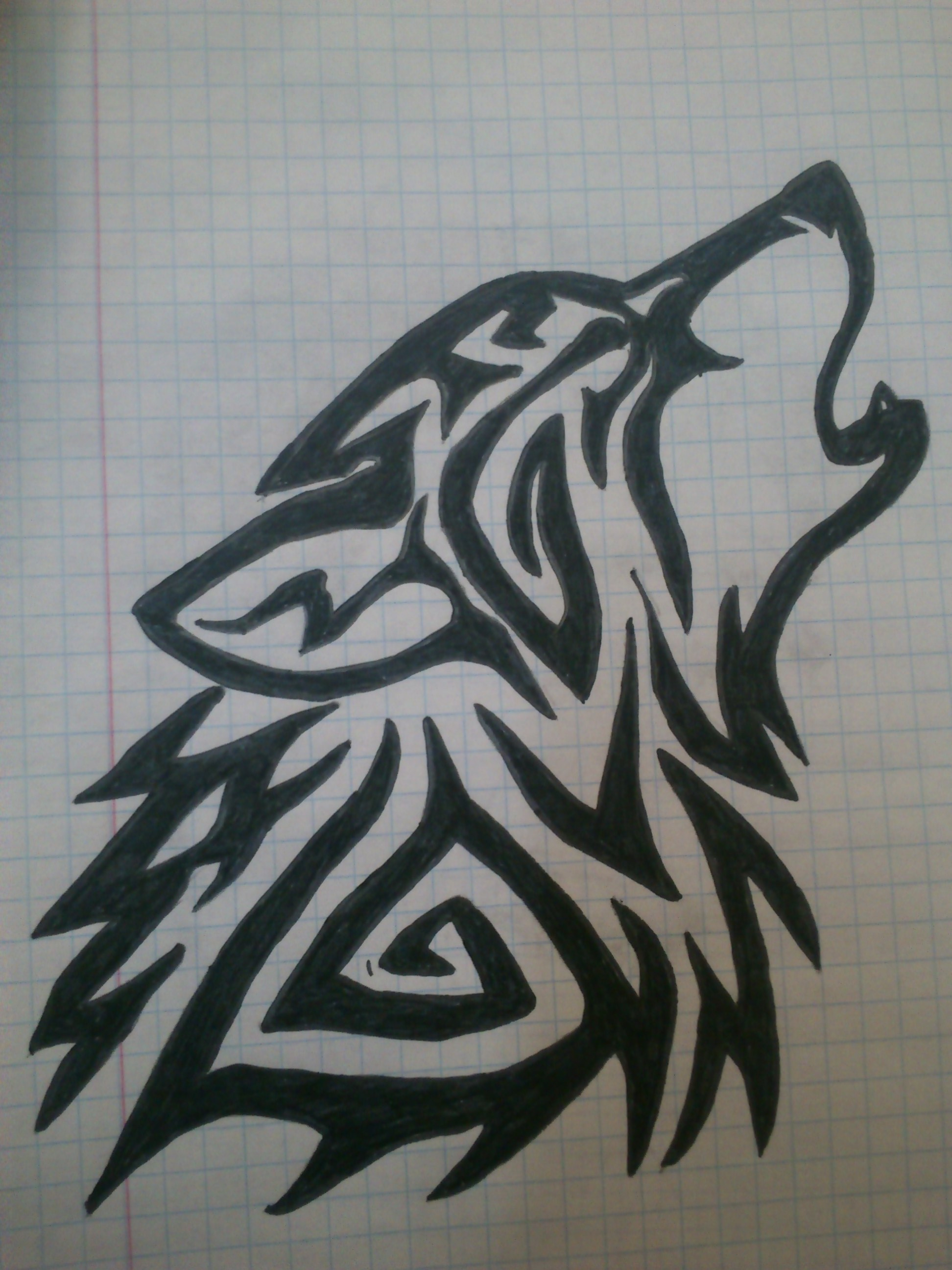 1944x2592 Tribal Wolf Drawing How To Draw Musical Tribal Wolf, Stepstep