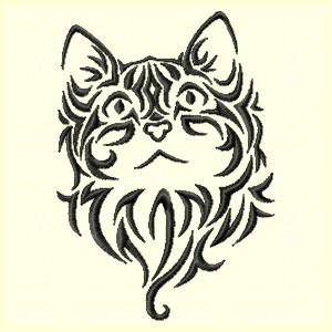 300x300 Cats Tribal Cat Machine Embroidery Design Set