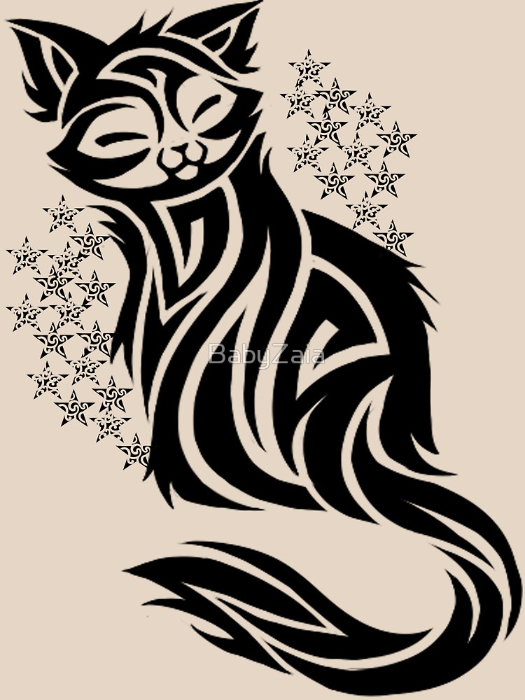 750x1000 Tribal Black Cat Women's Relaxed Fit T Shirt By Babyzaia Redbubble