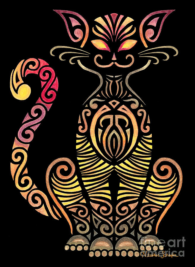 657x900 Tribal Cat Drawing By Heather Schaefer