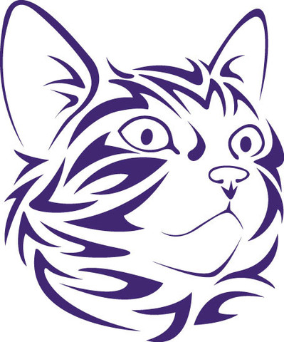 399x480 Tribal Cat Face Looking Right Vinyl Decal Silhouette, Stenciling