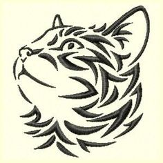 236x236 Tribal Cat Machine Embroidery Design Embroidery Designs