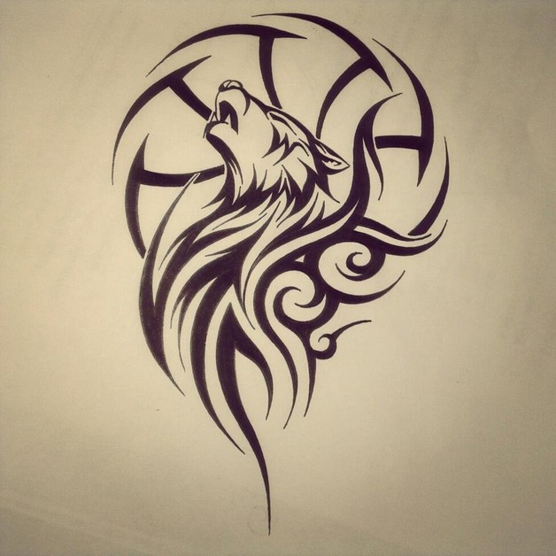 628x628 Tribal Wolf Dream Catcher Tattoo Drawing