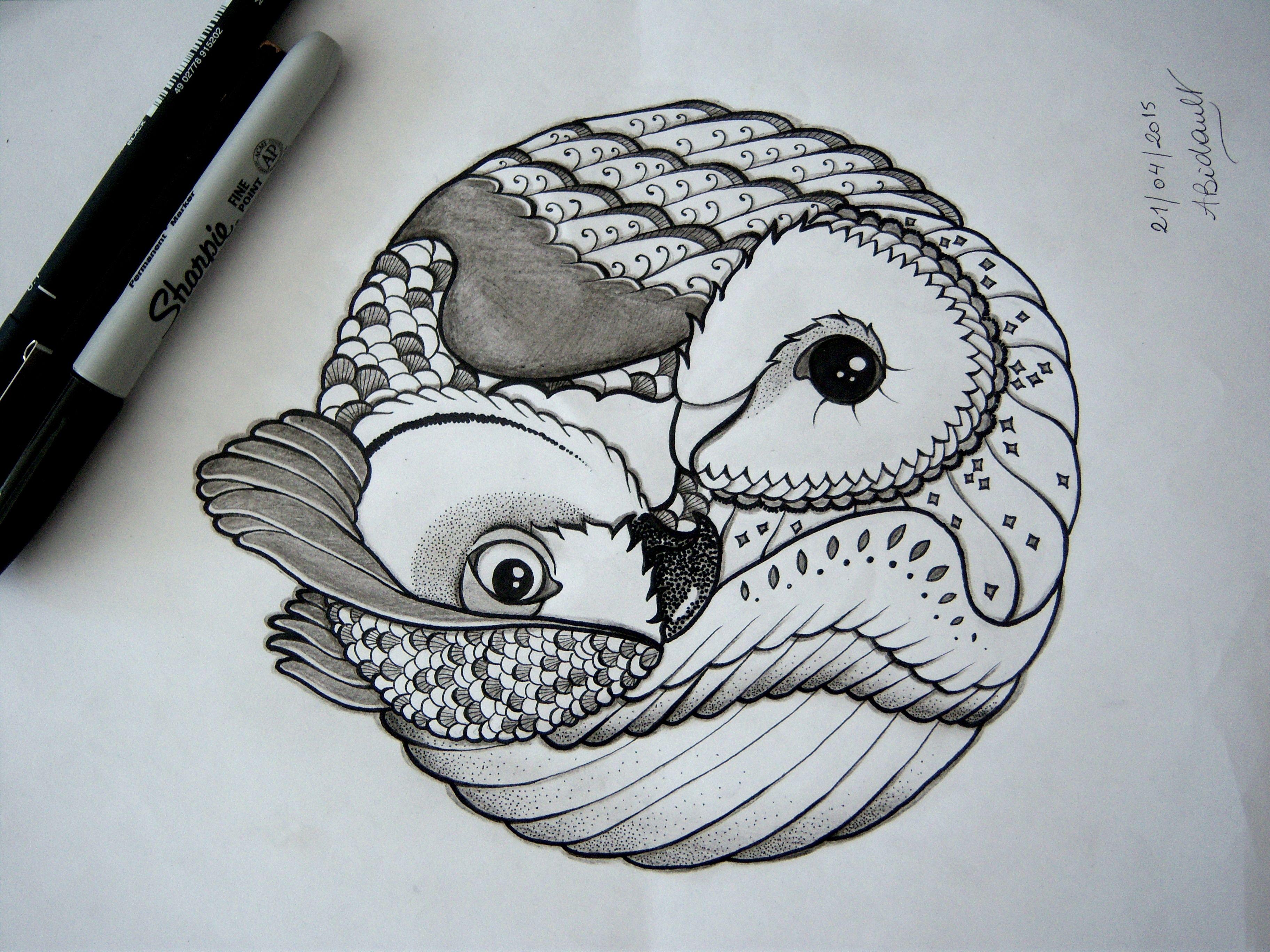 3648x2736 Owl Yin Amp Yang Tattoo Design By An Bidault