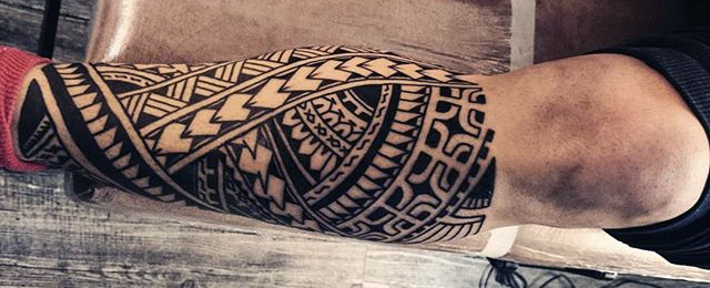 640x260 60 Tribal Leg Tattoos For Men