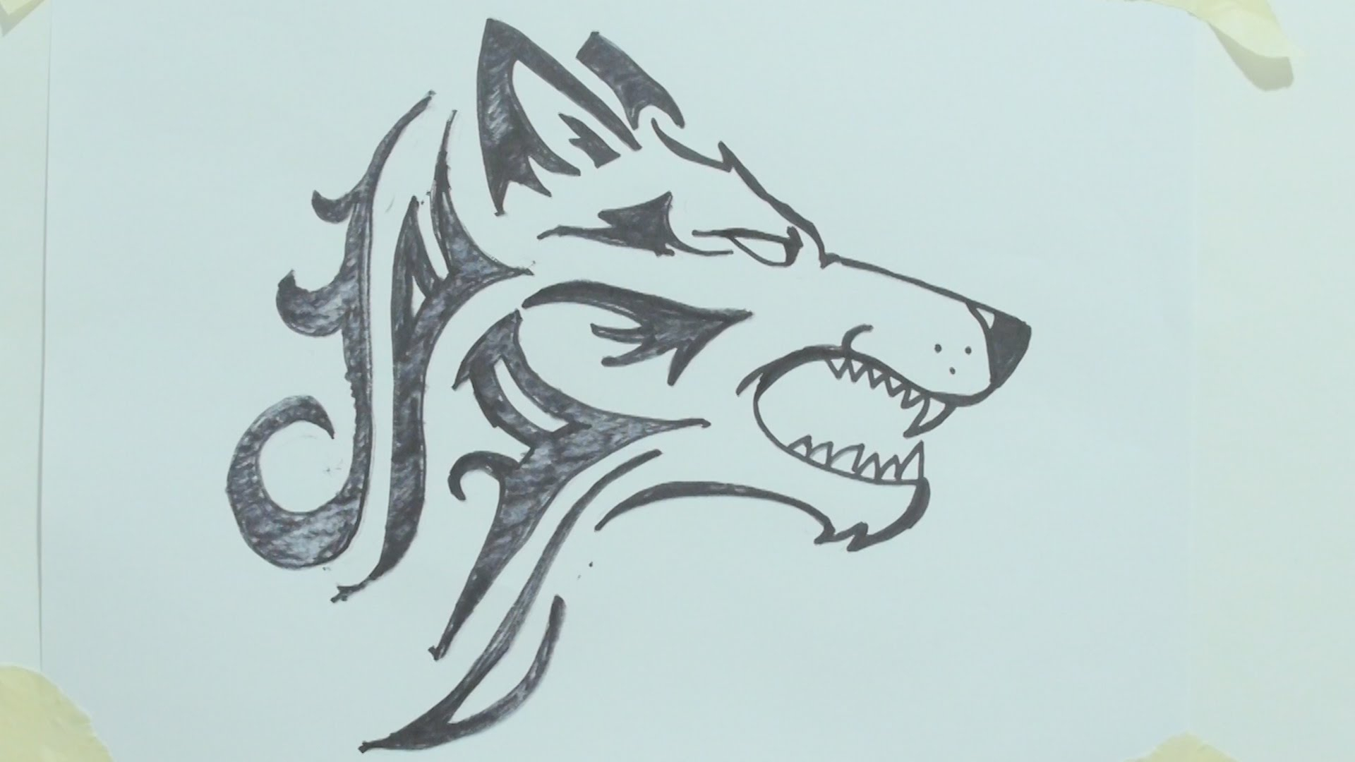 1920x1080 Tribal Wolf Drawing Tribal Wolf Tattoos Designs And Ideas