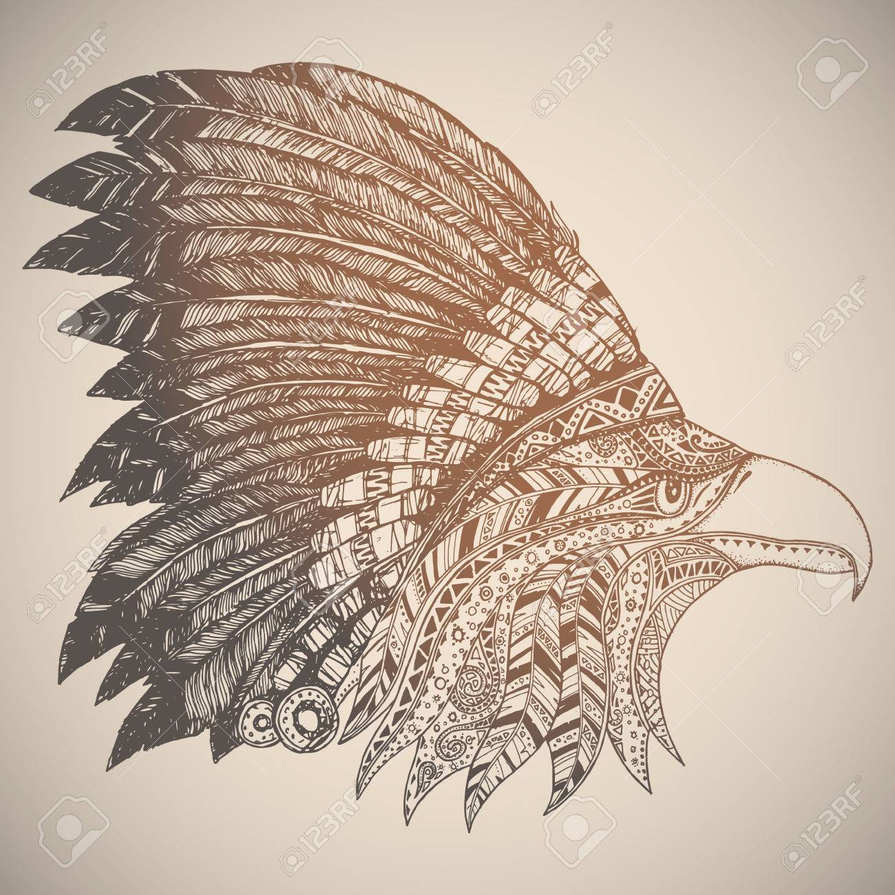 1300x1300 Eagle In Oriental Tribal Ornament. Hippie Ornament. Hand Drawn