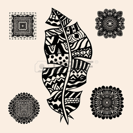 450x450 Artistically Drawn, Stylized, Vector Set Of Feathers. Vintage