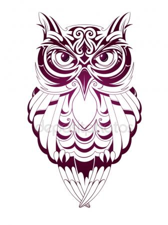 336x450 Tribal Owl. Tattoo Design Stock Vector Lion21