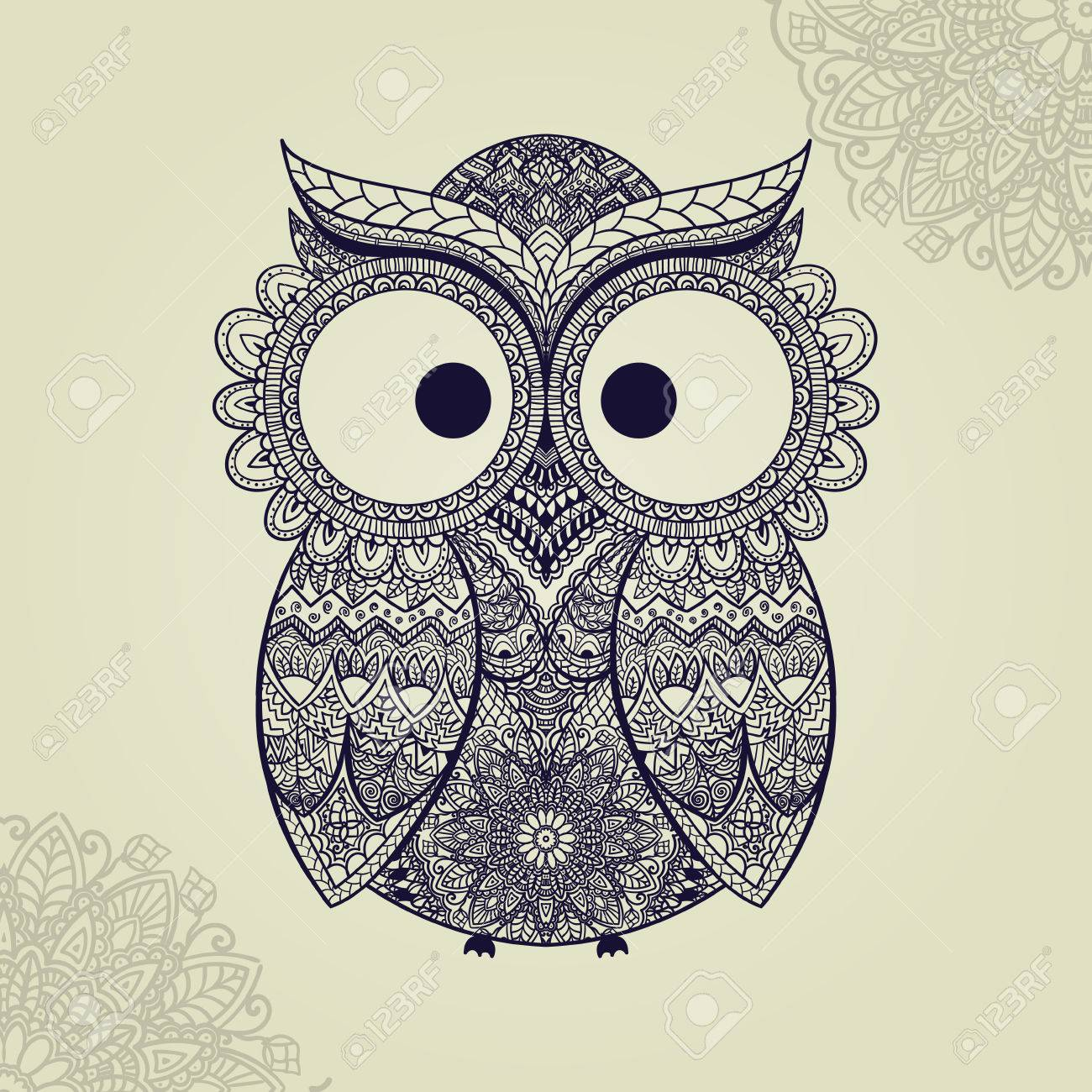 1300x1300 Vector Illustration Of Owl. Bird Illustrated In Tribal.owl Whith