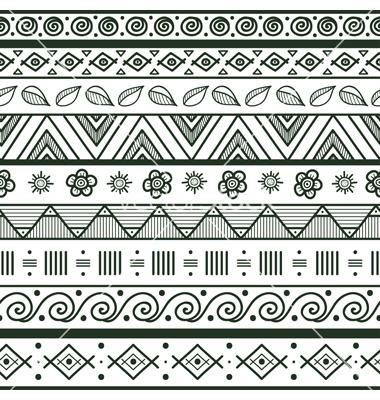 380x400 Tribal Striped Hand Drawn Seamless Pattern Vector Art
