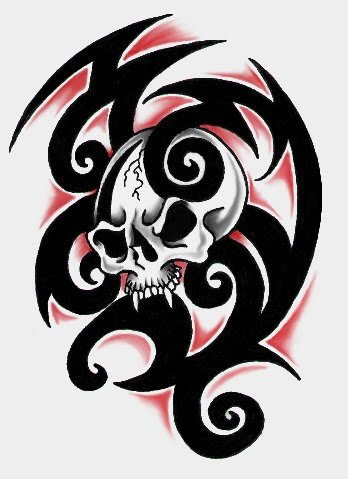 348x479 Tribal Skull Tattoo Patterns Tribal Skull Tattoos. Tribal Skull
