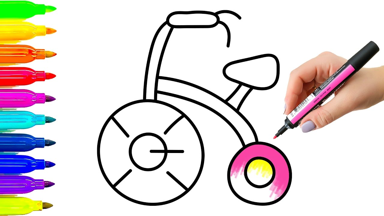 1280x720 Coloring Book And Drawing Baby Tricycle Videos For Kids Learning
