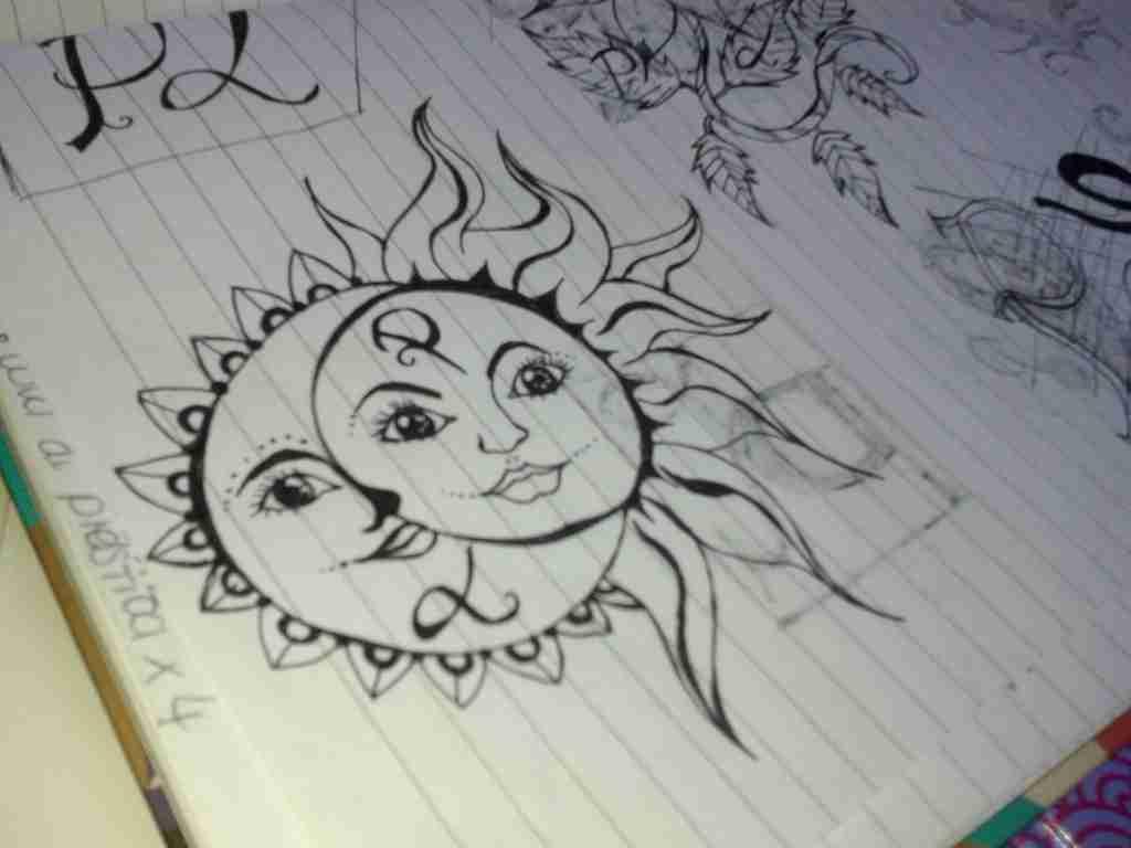 1024x768 Trippy Sun And Moon Drawing Olegratiy