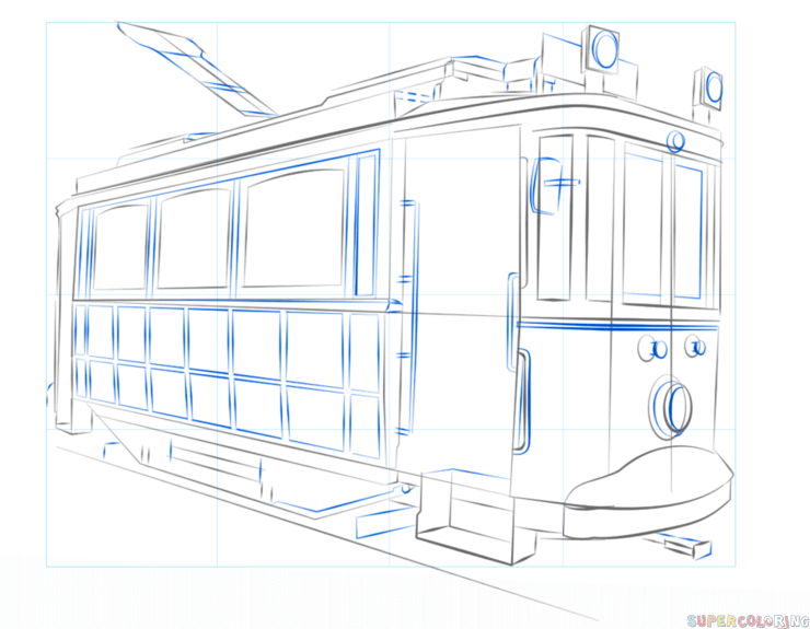 740x575 How To Draw A Trolley Car Step By Step Drawing Tutorials