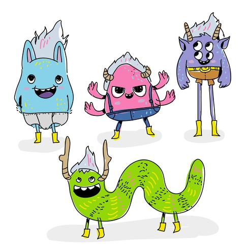 492x490 Funny Trolls Monster Character Doodle Vector Illustration