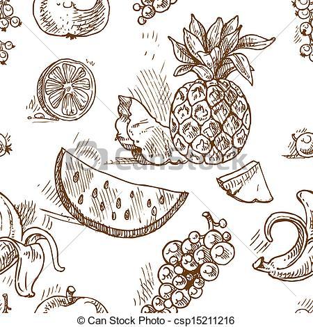 450x470 Seamless Pattern Of Tropical Fruit Doodles Vector Clip Art