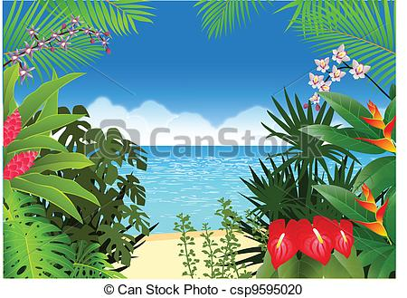 450x329 Vector Illustration Of Tropical Beach Background Vector Clipart