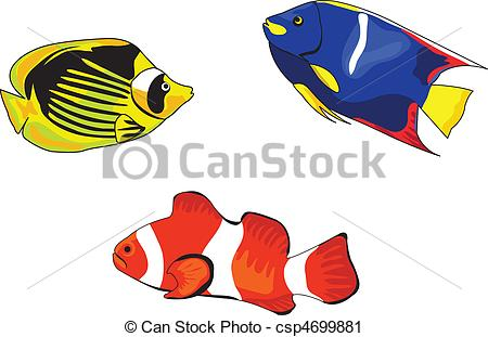 450x311 Tropical Fish Illustrations On White Background Vector Clip Art