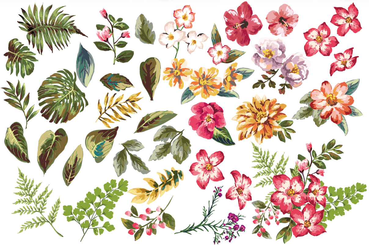 1208x804 Seamless Tropical Flowers Vol.3 Tropical Pattern, Illustrators