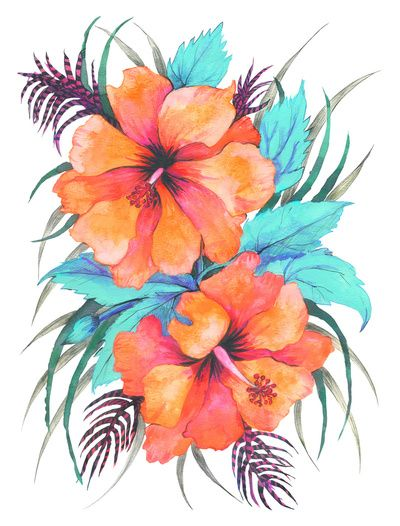 400x526 Tropical Flower {Orange Hibiscus} Art Print Designs