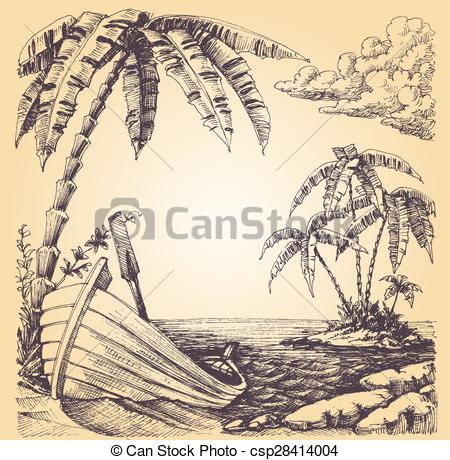 450x460 Boat On Sea Shore, Tropical Island And Palm Tree Vector Clipart