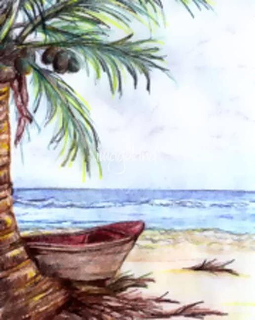 517x650 Stunning Tropical Islands Pencil Drawings And Illustrations