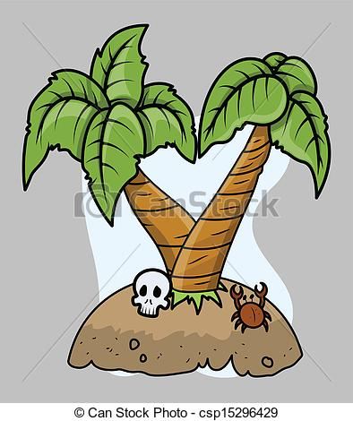 394x470 Tiny Tropical Island Vector. Drawing Art Of Cartoon Tropical