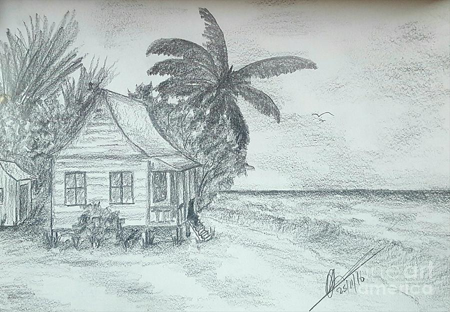 900x624 Tropical Island Sea Drawing By Collin A Clarke