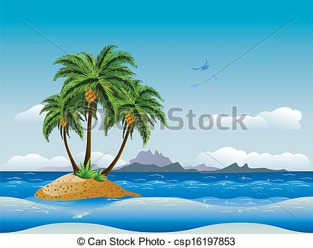 450x357 Tropical Island In The Ocean. A Tropical Island With Palm