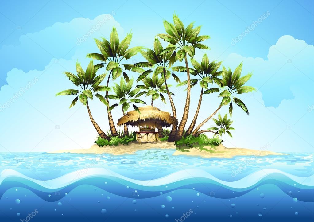 1023x723 Tropical Island With Palm Stock Vector Tan Tan