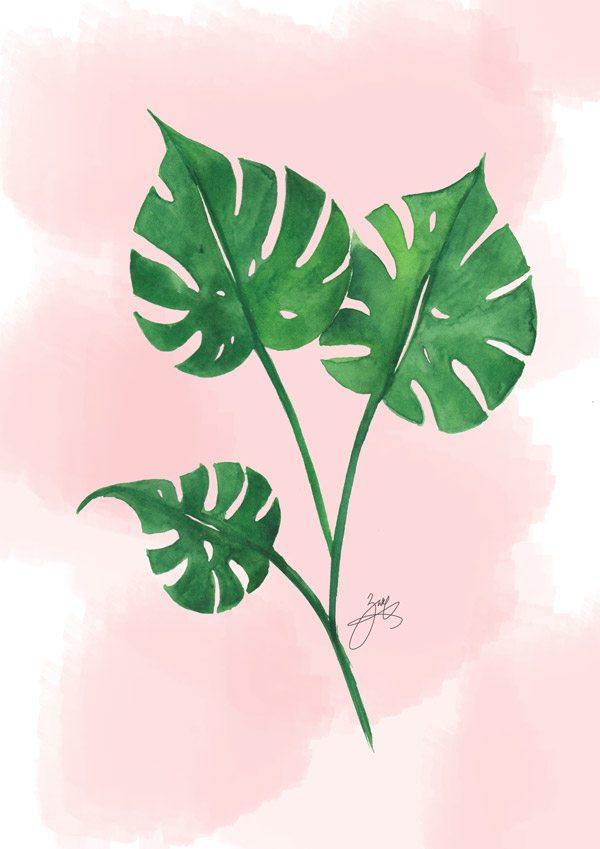 600x849 Watercolor Tropical Leaf Tutorial Dawn Nicole
