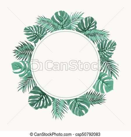 450x470 Exotic Tropical Leaves Wreath Border Frame Green. Exotic Vector