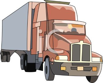 350x284 Royalty Free Clip Art Image Cartoon Drawing Of A Semi Truck