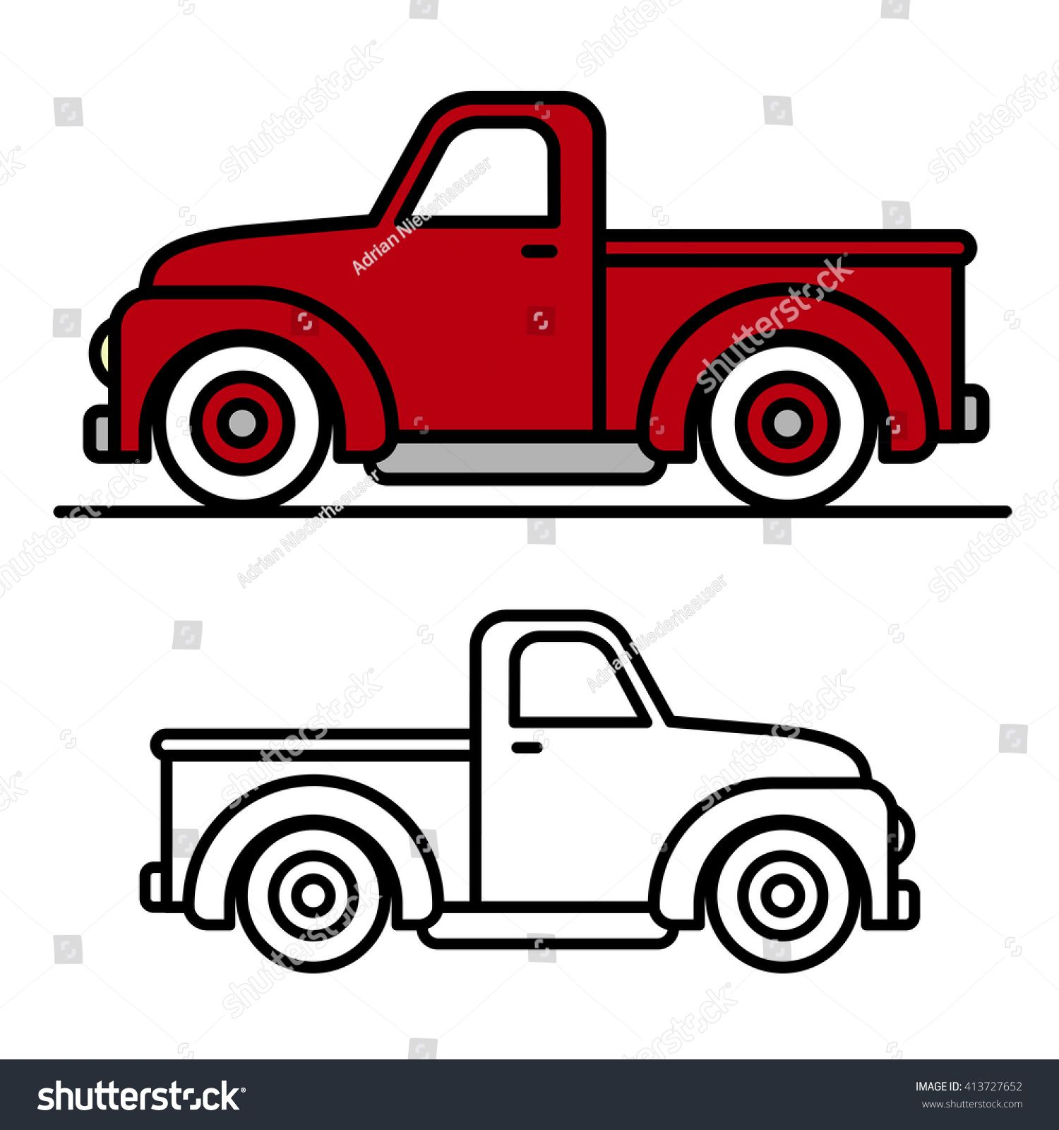 1500x1600 Two Cartoon Vintage Pick Up Truck Outline Drawings, One Red