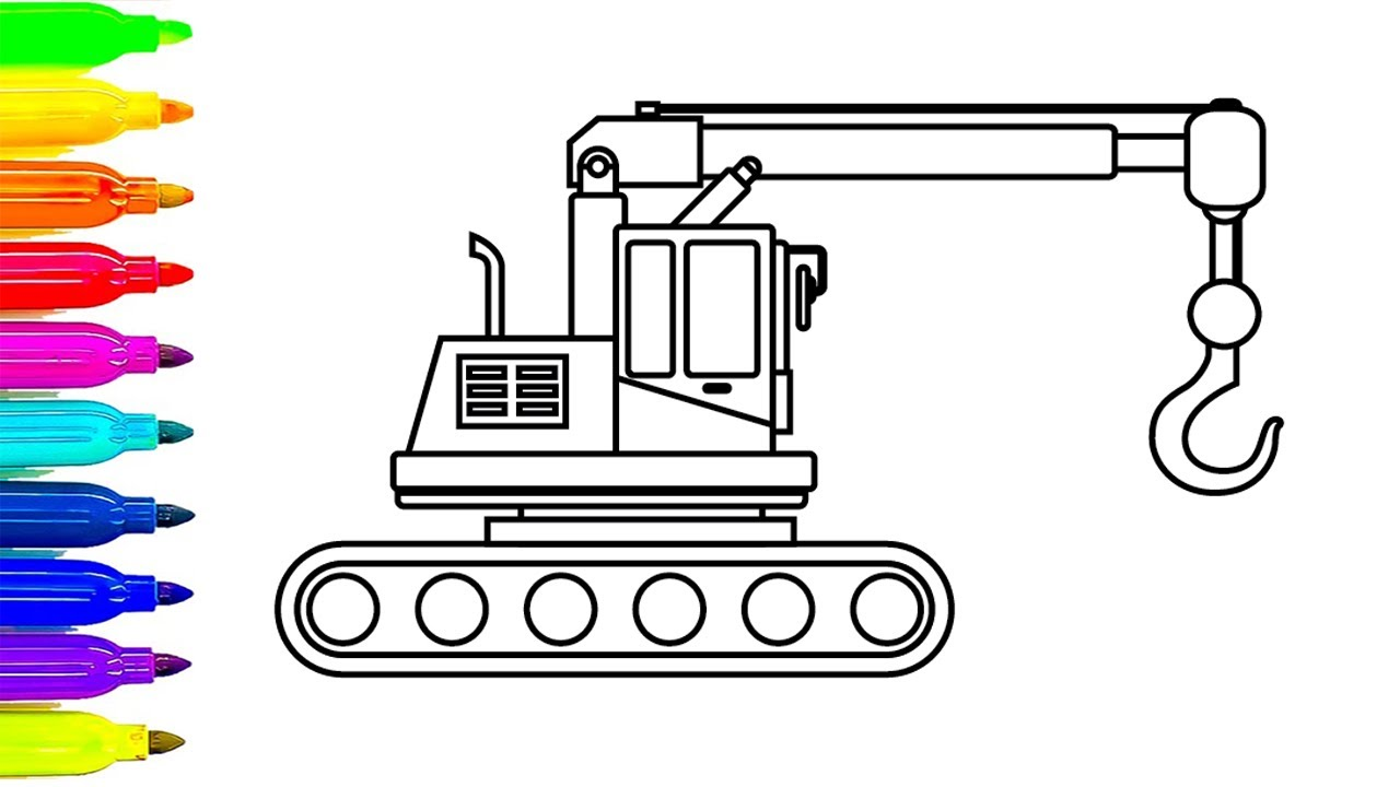 1280x720 How To Draw Crane Truck Coloring Pages, Drawing For Kids, Learn