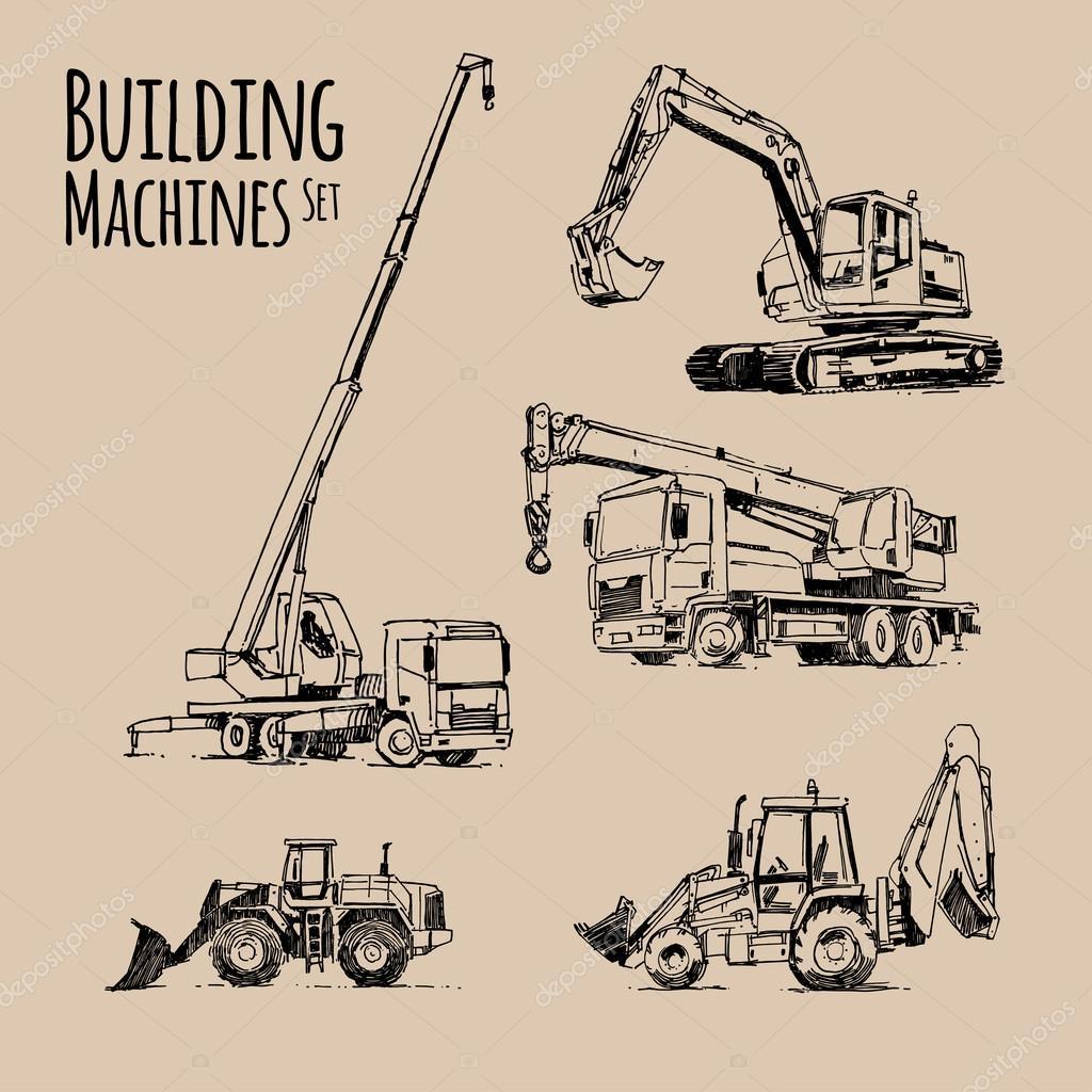 1024x1024 Truck Crane, Excavator, Bulldozer. Building Machines Set. Hand